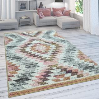 Wohnzimmer-Teppich, Moderner Kurzflor In Pastellfarben Mit Rauten-Muster, In Bunt