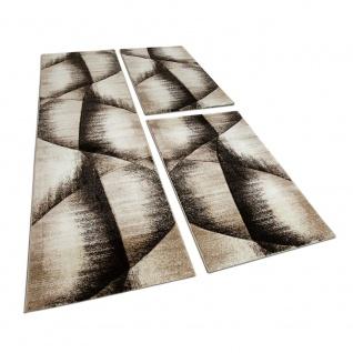 Läuferset Bettumrandung 3 Tlg Teppich Kariert mit Konturenschnitt Braun Beige