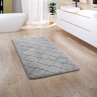 Badezimmerteppich Badematte Badteppich Flauschig Memory Foam 3D Orient Grau