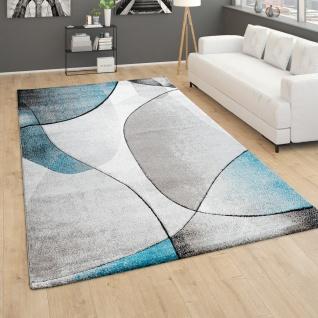 Teppich Wohnzimmer Kurzflor 3D Effekt Abstraktes Muster Geometrisch Grau Türkis