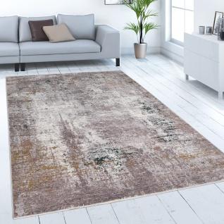 Teppich Wohnzimmer Kurzflor Abstraktes Vintage Muster Beton Optik Grau Beige