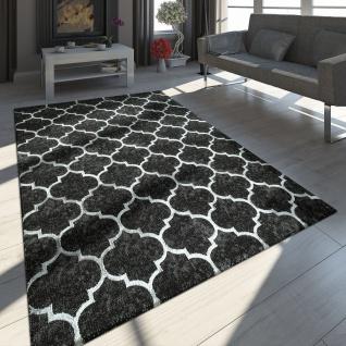 Orient Teppich Modern 3D Effekt Marokkanisches Muster Schwarz Weiß