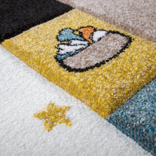 Kinderteppich Kinderzimmer Konturenschnitt Hunde Welt Beige Blau Pastellfarben - Vorschau 3