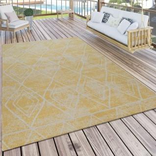 Teppich Outdoor Balkon Terrasse Gelb Rauten Muster Skandi Design Robust Weich
