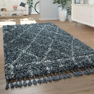 Wohnzimmer Teppich Shaggy Hochflor Modern Rautenmuster Karo In Blau Weiß