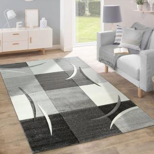Designer Teppich Modern Konturenschnitt Pastellfarben Mit Karo Muster In Taupe