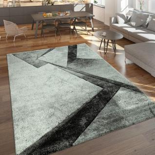 Designer Teppich Moderner Kurzflor Marmor Optik Geomterische Muster Grau Anthrazit