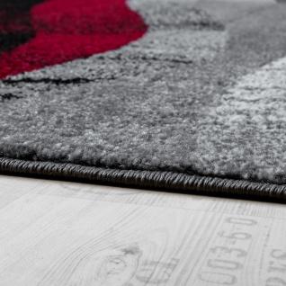 Teppich Modern Kurzflor Wellen Optik Abstrakt Grau Schwarz Rot - Vorschau 2