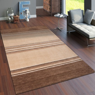 Teppich Handgeknüpft Gabbeh Hochwertig Baumwolle Meliert Streifen In Beige Braun