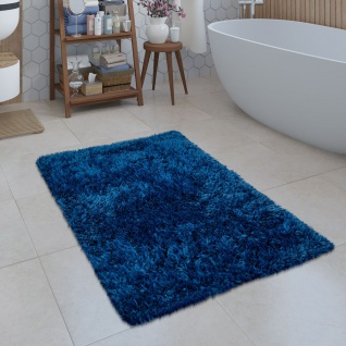 Moderne Badematte Badezimmer Teppich Shaggy Kuschelig Weich Einfarbig Blau