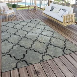 In- & Outdoor Teppich Modern Vintage Design Terrassen Teppich Grau