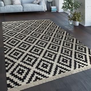 Teppich Modern Marokkanische Muster Handgewebt Skandi Rauten Fransen Schwarz Weiß