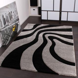 Designer Teppich Festival mit Konturenschnitt Muster Silber Schwarz Grau