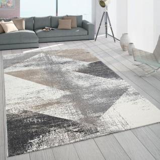 Teppich Wohnzimmer Kurzflor Vintage Design Abstraktes Muster Pastell Grau Beige