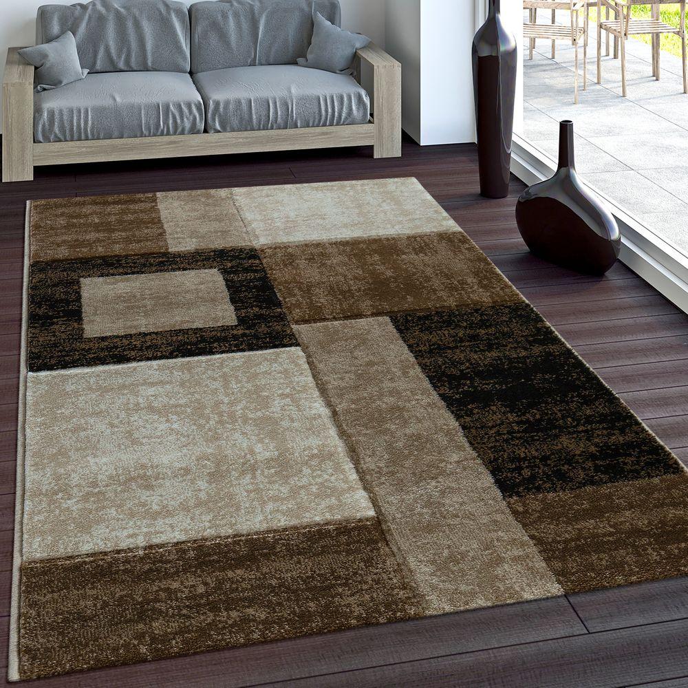 Designer Teppich Modern Geometrische Muster Vintage Stil Braun Beige