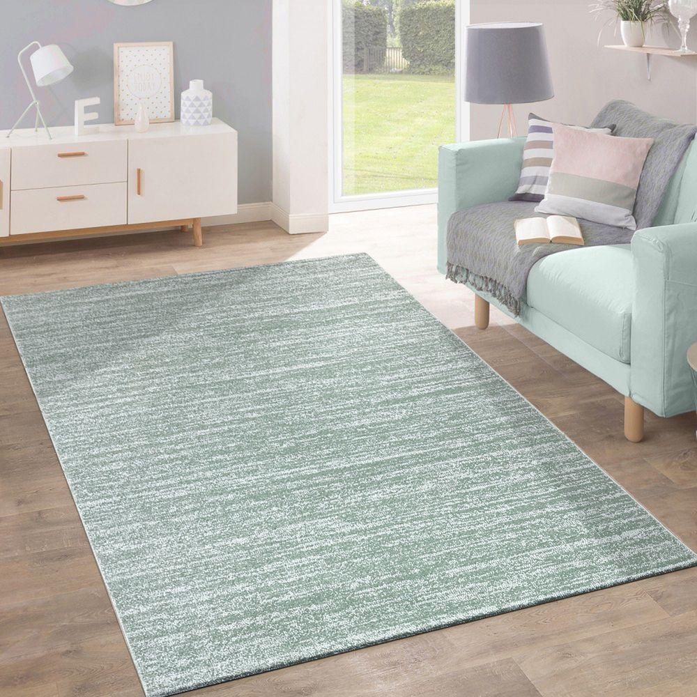 Teppich Kurzflor Modern Trendig Pastellfarben Design Meliert Einfarbig Grün  1 ...