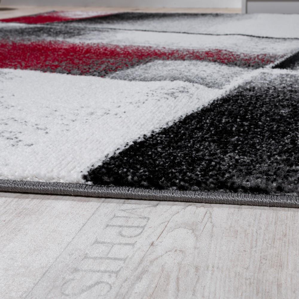 designer teppich modern wohnzimmer teppiche kurzflor meliert rot grau schwarz kaufen bei diva. Black Bedroom Furniture Sets. Home Design Ideas
