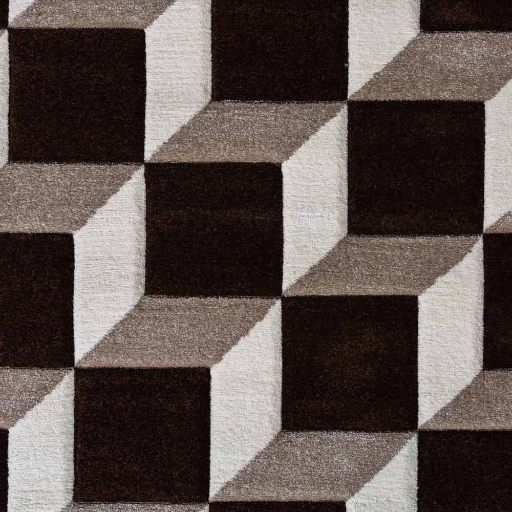 ... Wohnzimmer Teppich Geo Design Würfel Muster Braun Creme Ausverkauf 2 ...
