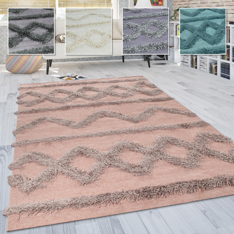 Hochflor Teppich, Wohnzimmer Shaggy m. 3D Rauten Muster, Skandinavischer  Stil