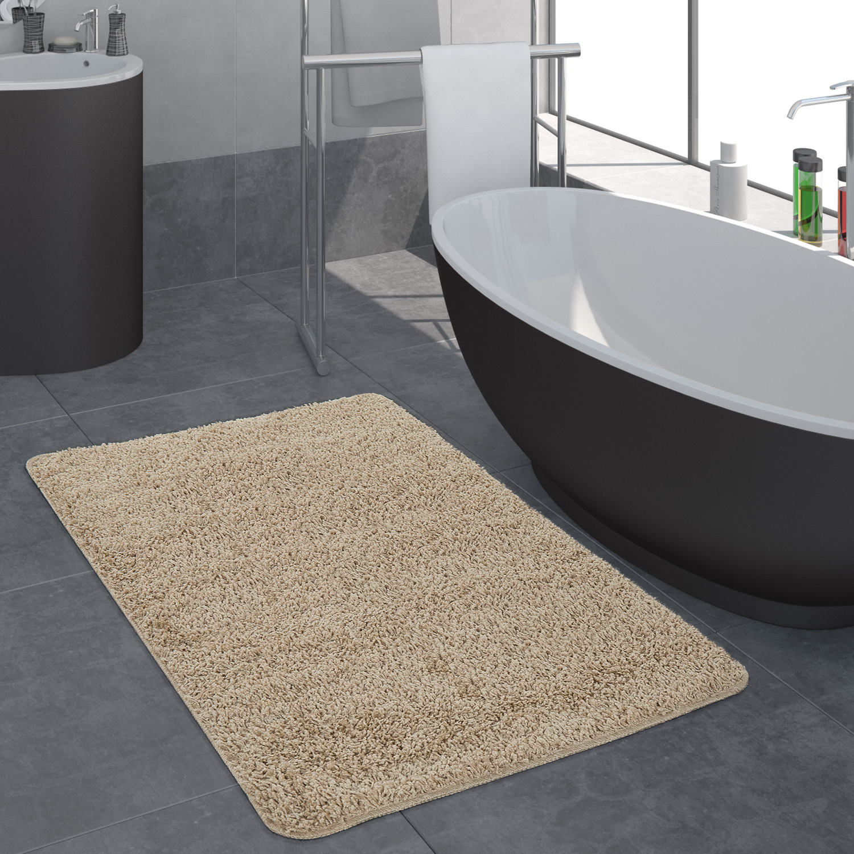 Moderner Badezimmer Teppich Einfarbig Hochflor Badteppich Rutschfest ...