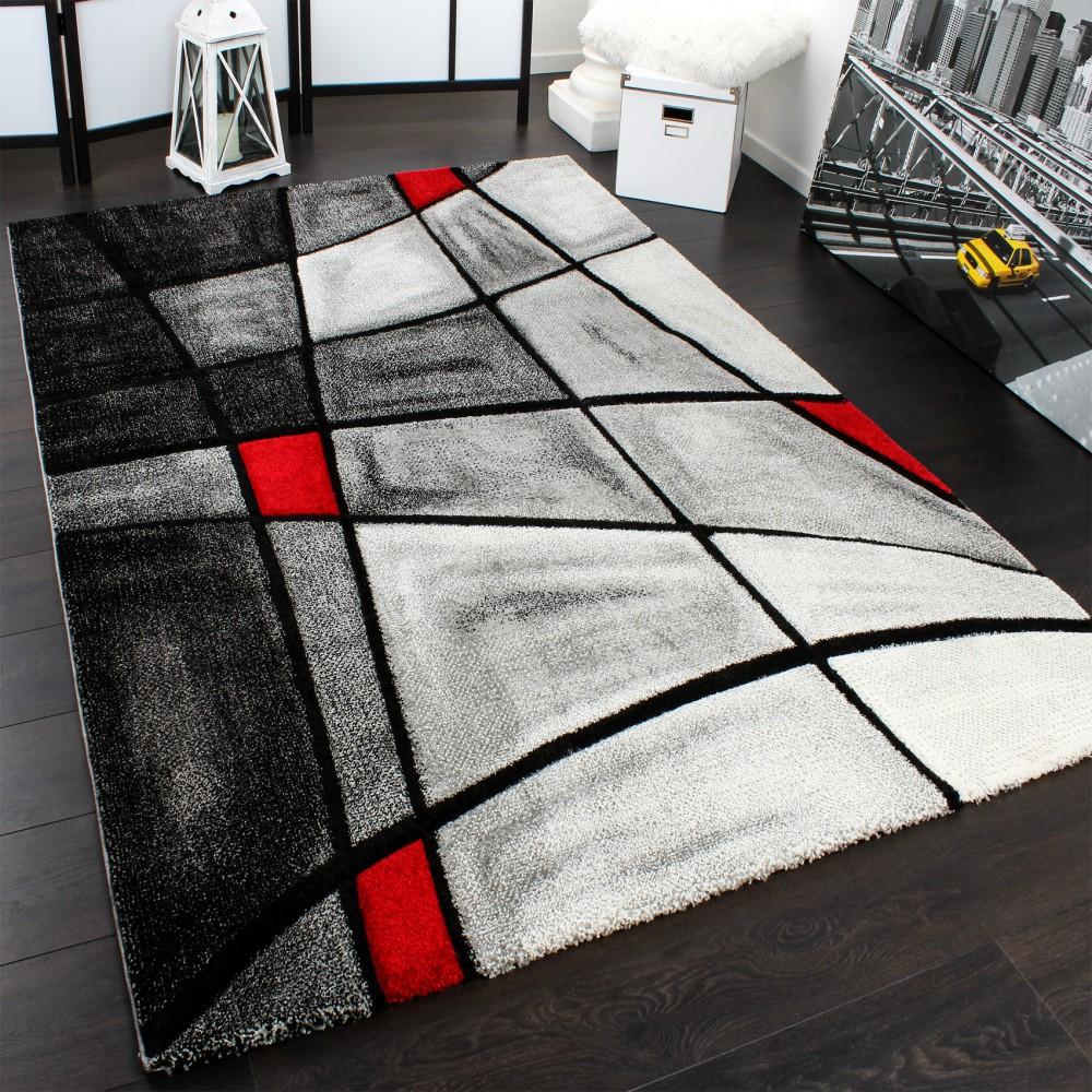 Designer Teppich Karo Modern Handgearbeiteter Konturenschnitt Grau