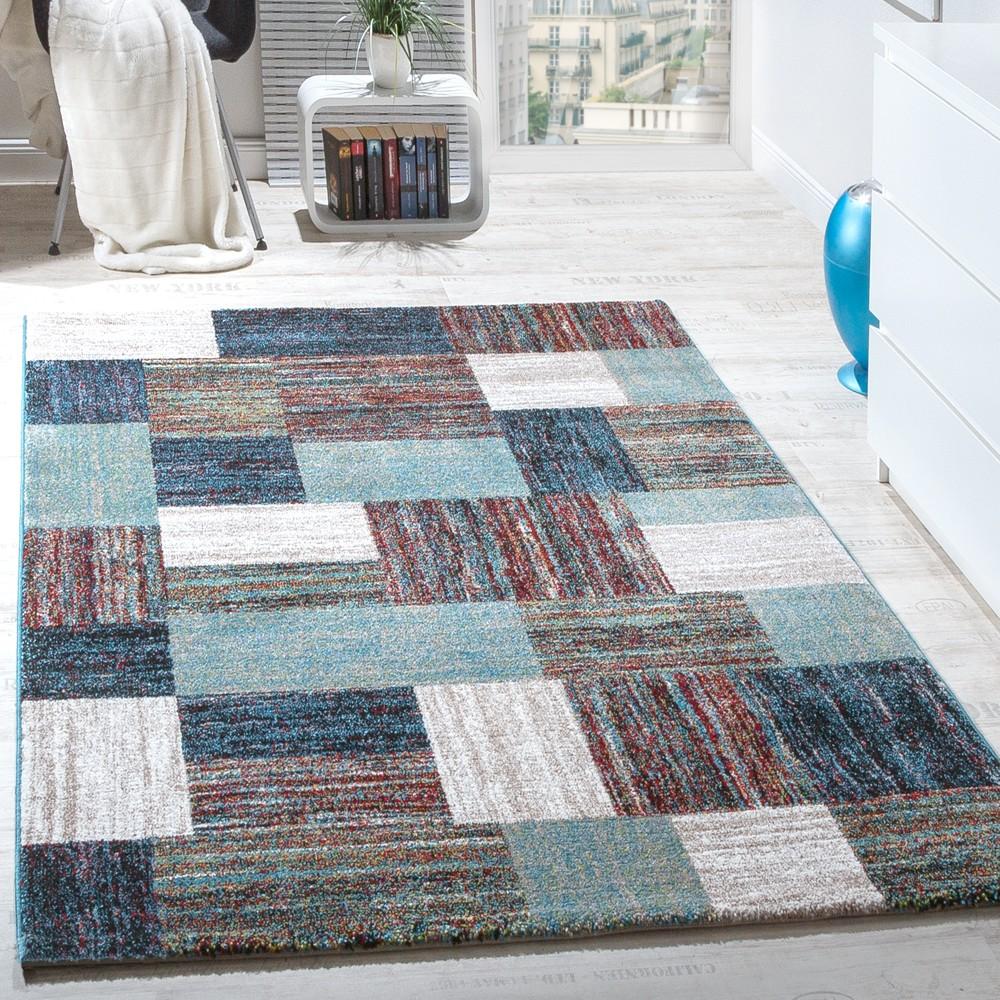 Teppiche Modern Wohnzimmer Teppich Spezial Melierung Karo Muster In