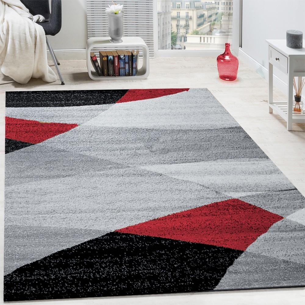 Designer Teppich Modern Geschwungene Wellen Linien Muster Kurzflor