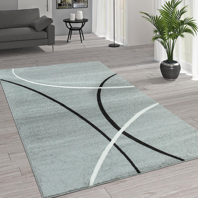 Kurzflor Wohnzimmer Teppich Trendige Moderne Linien Muster In Grau Schwarz  Weiß 1 ...
