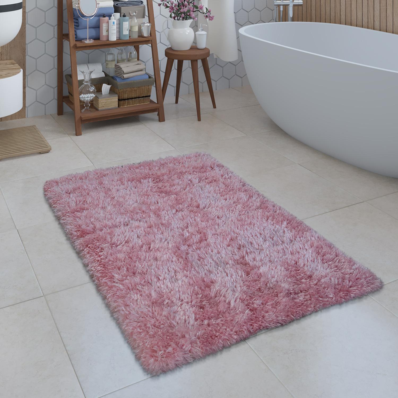Moderne Badematte Badezimmer Teppich Shaggy Kuschelig Weich Einfarbig Pink