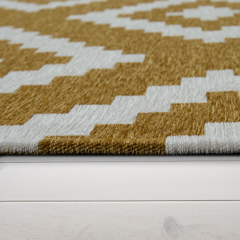 Kurzflor Teppich Gelb Weiß Wohnzimmer Skandinavisches Design Rauten Muster