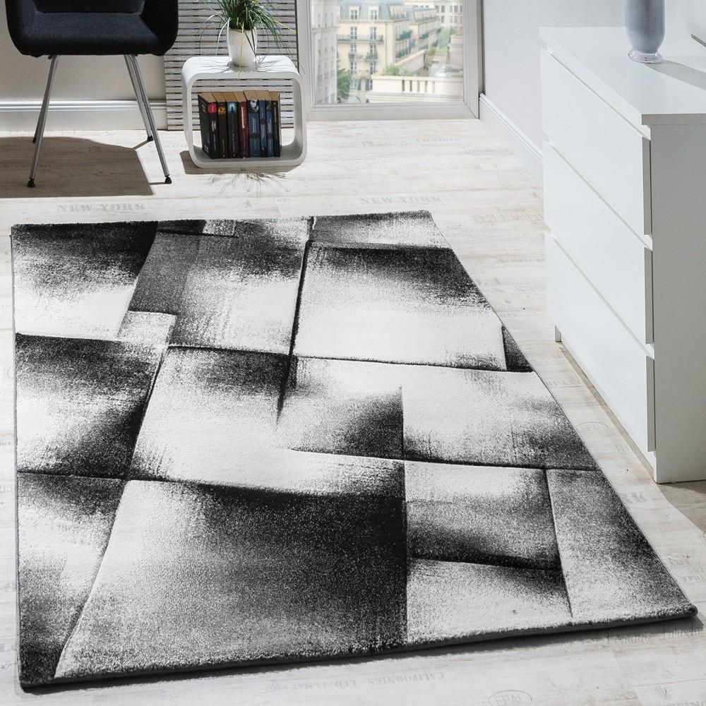 Designer Teppich Modern Wohnzimmer Teppiche Kurzflor Meliert Grau ...
