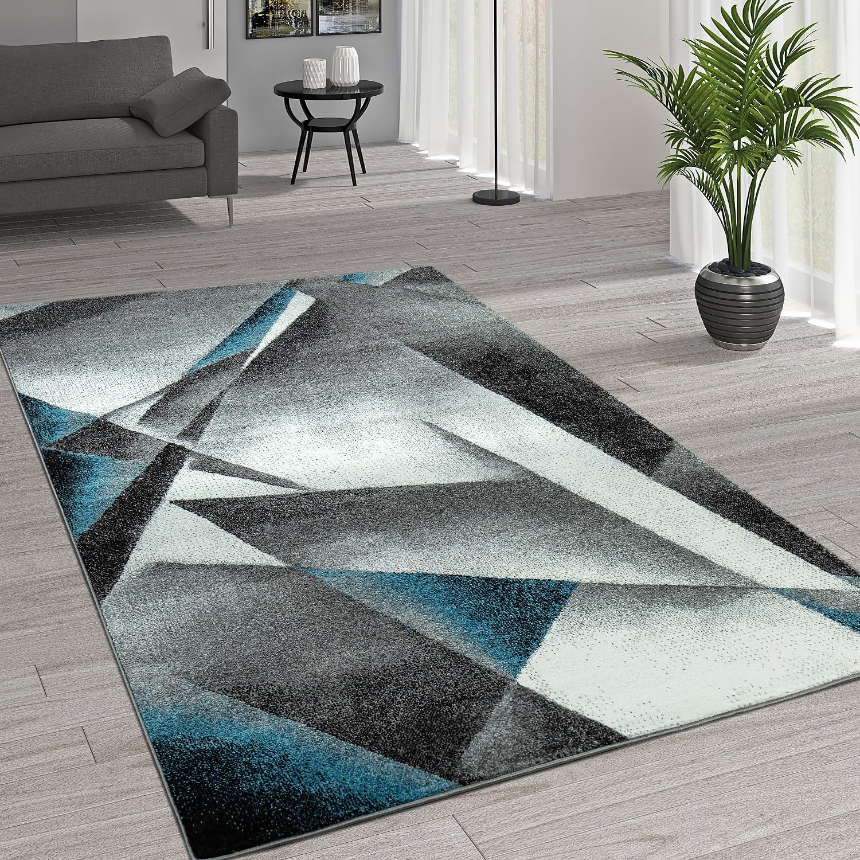 Kurzflor Wohnzimmer Teppich Moderne Melierung Geometrische Muster Grau  Türkis 1 ...