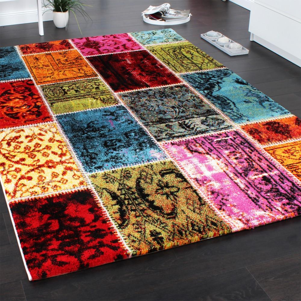 Teppich Modern Designer Teppich Patchwork Vintage Multicolour Grun