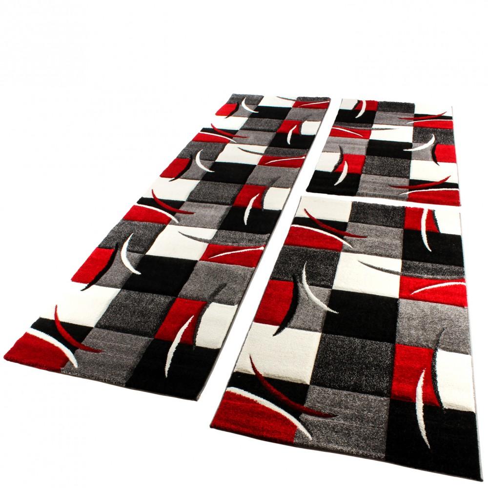 Bettumrandung Läufer Teppich Modern Karo Rot Grau Schwarz Weiss Läuferset 3  Tlg. 1 ...