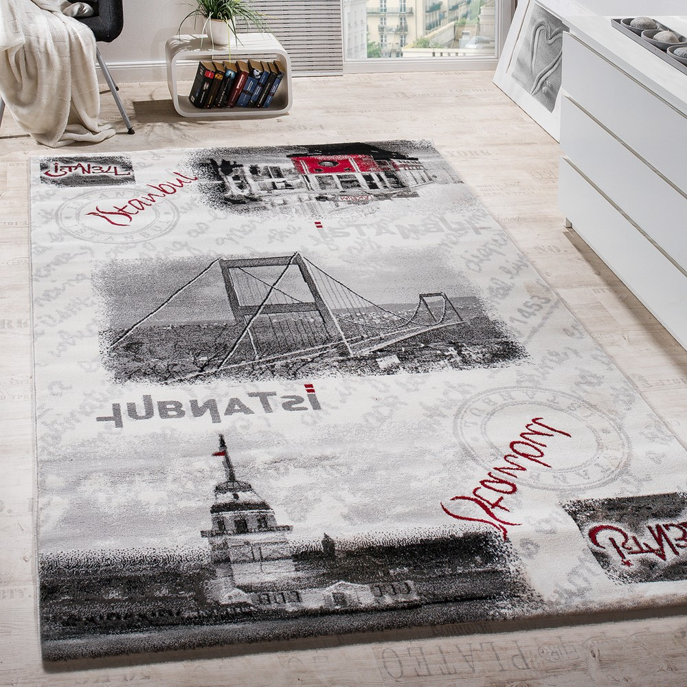 Wunderbar Designer Teppich Istanbul Motiv Modern Wohnzimmerteppich Stadt Design Grau  Creme