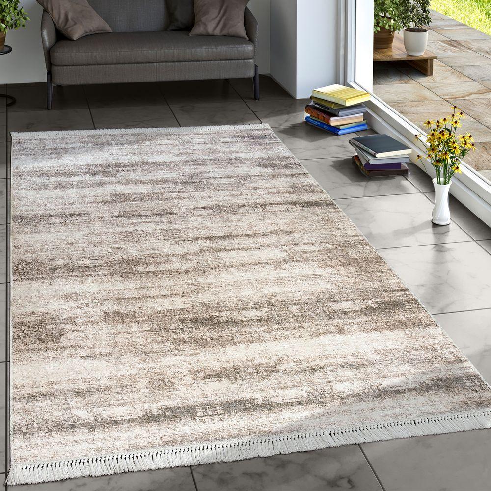 Designer Teppich Wohnzimmer Trend Teppiche Modern Meliert Bedruckt Beige 1  ...