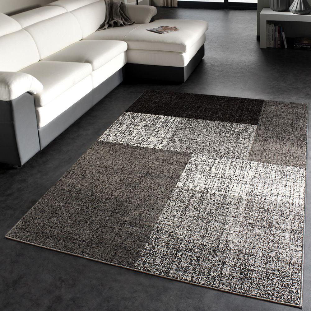 Designer Teppich Modern Kariert Kurzflor Design Meliert In Grau Creme Braun  1 ...