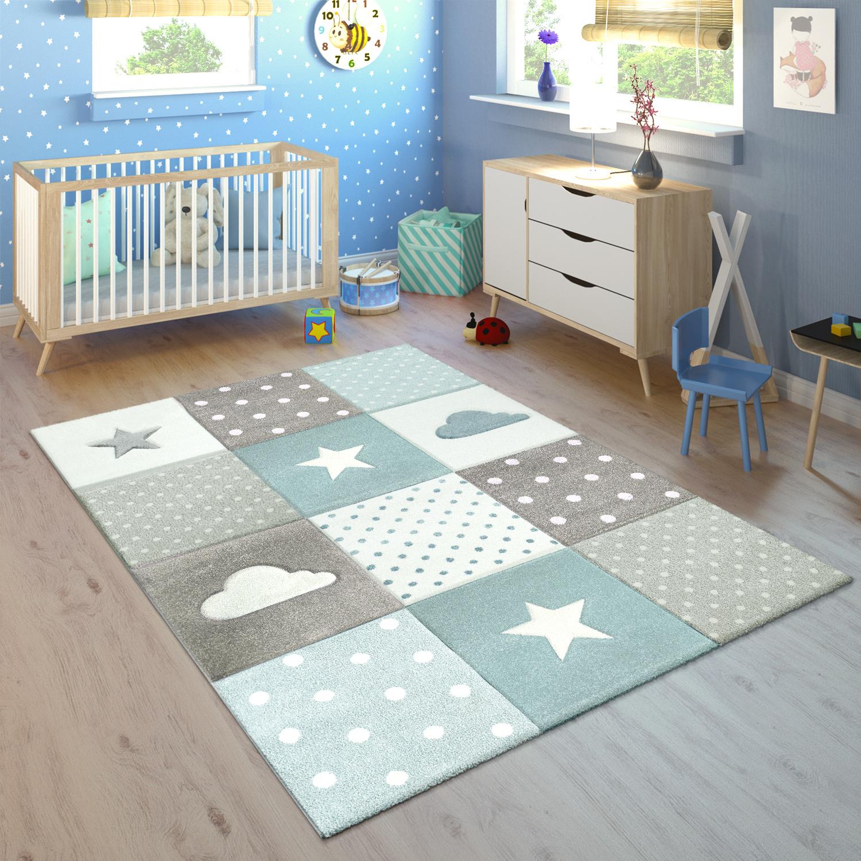 Kinderteppich Kinderzimmer Kariert Punkte Wolken Sterne In Pastell ...