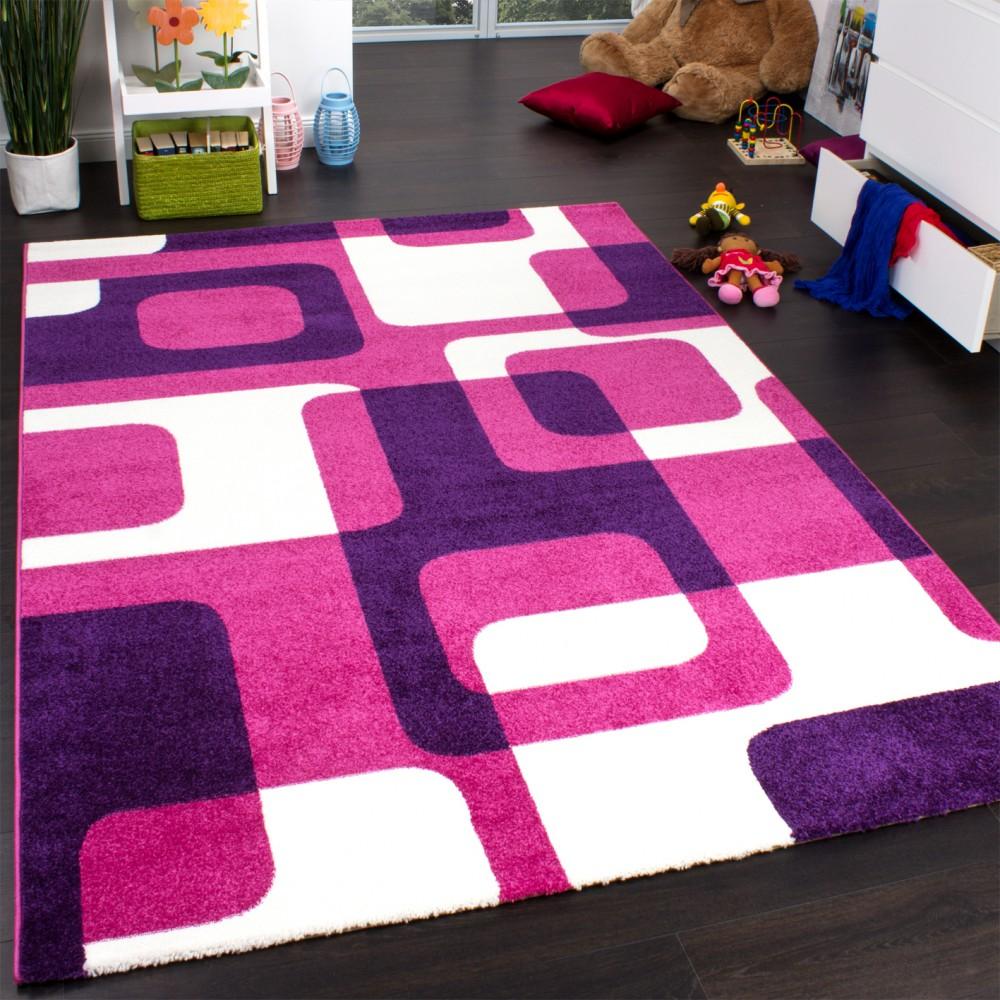 Teppich Kinderzimmer Trendiger Retro Kinderteppich in Pink Lila ...
