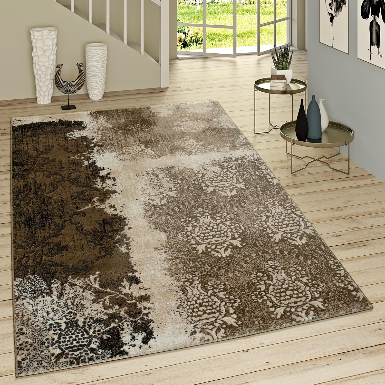 Kurzflor Wohnzimmer Teppich Used Look Mit Rokoko Muster Modern In Braun  Beige