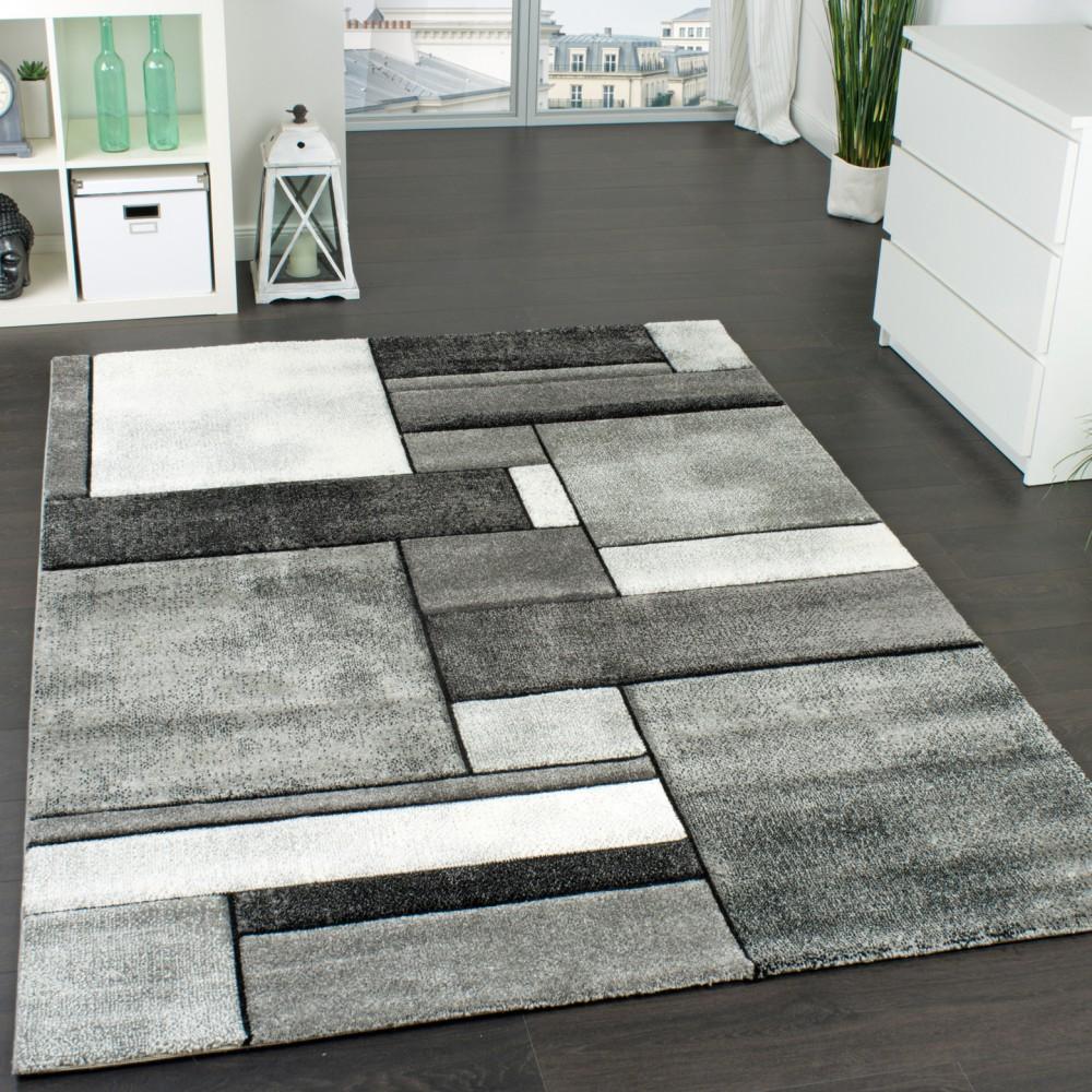 Designer Teppich Kariert Wohnzimmer Teppich Modern Trendig Meliert In Grau  1 ...