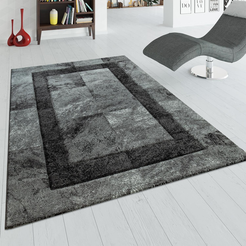 Teppich Grau Anthrazit Wohnzimmer Kurzflor 3 D Effekt Marmor Design Karo Muster
