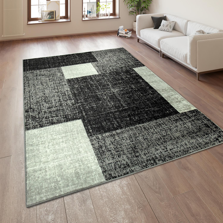 Designer Wohnzimmer Teppich Modern Kurzflor Karo Muster Schwarz Grau