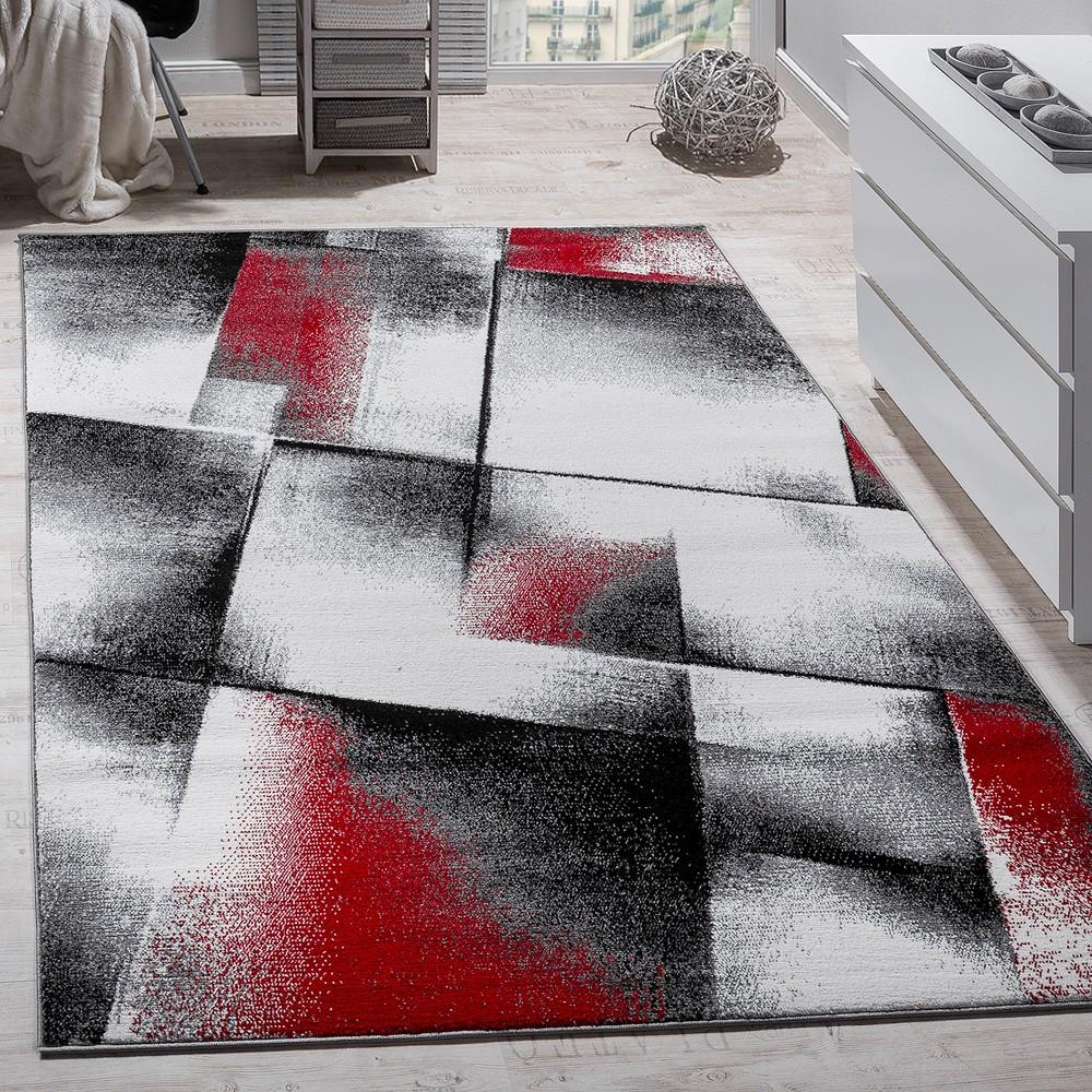 Designer Teppich Modern Wohnzimmer Teppiche Kurzflor Meliert Rot