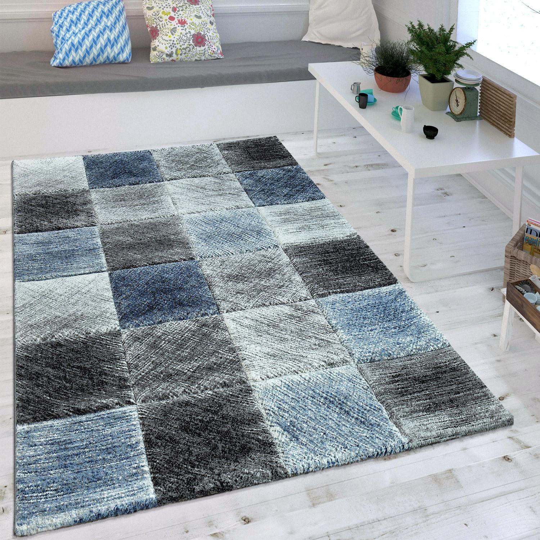 Wohnzimmer Teppich Indigo Blau Grau Trend Kariert Vintage Optik