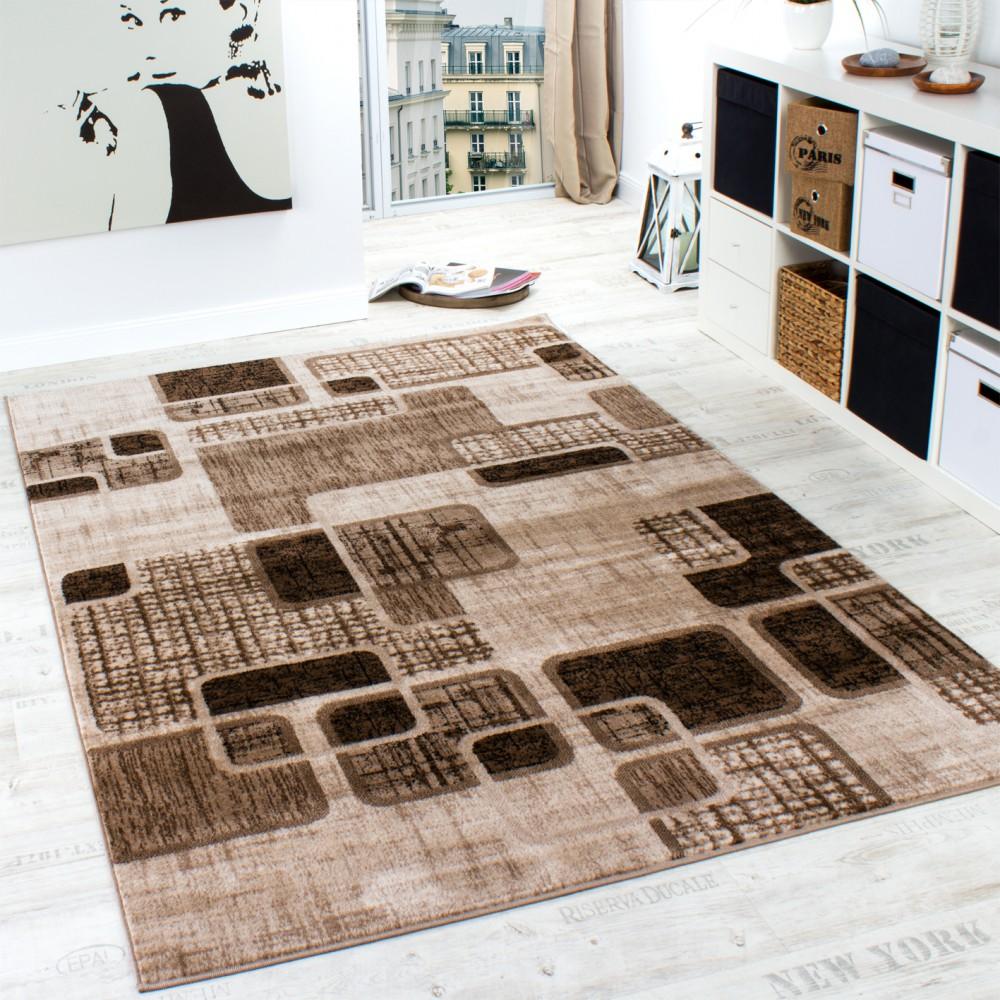 Designer Teppich Wohnzimmer Teppich Retro Muster In Braun Beige Preishammer  1 ...