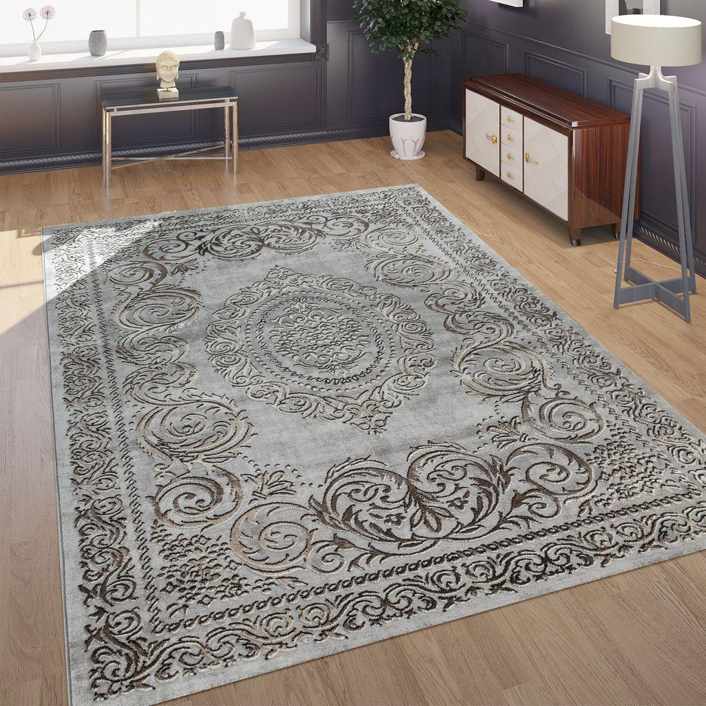 Designer Wohnzimmer Teppich 3d Optik Orientalisches Muster In Grau