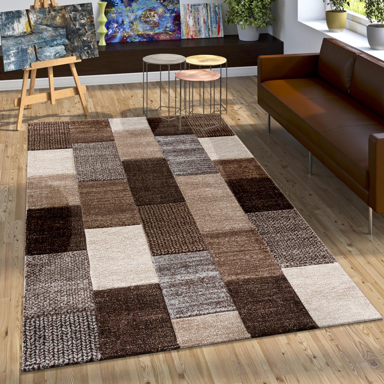 Designer Teppich Mit Konturenschnitt Karo Muster In Braun Beige Grau