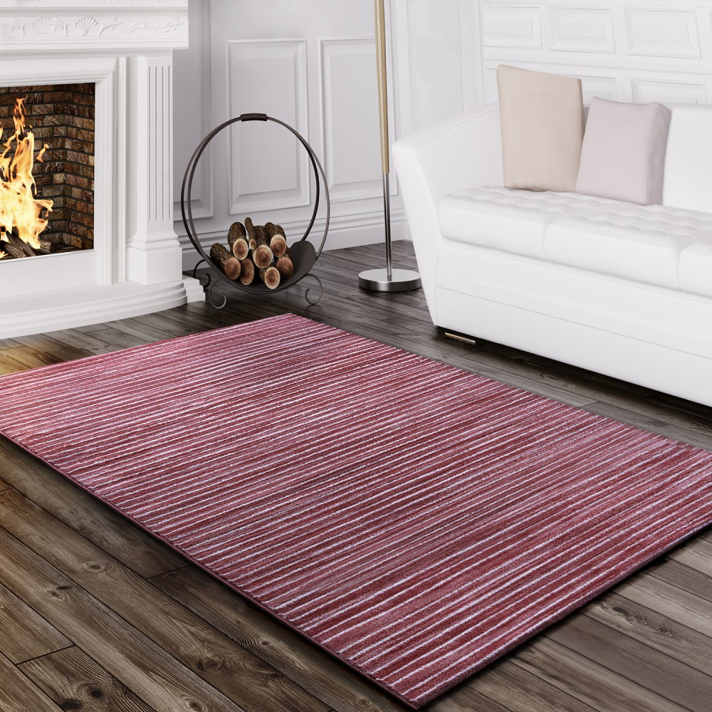 teppich wohnzimmer modern glitzergarn gestreift linien kurzflor meliert rosa kaufen bei diva. Black Bedroom Furniture Sets. Home Design Ideas