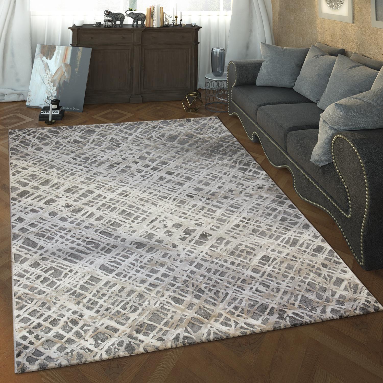 Designer Wohnzimmer Teppich Hoch Tief Struktur Abstraktes Muster Modern  Grau 1 ...